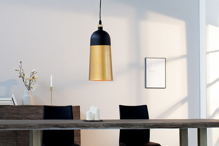 Elegante Hängeleuchte MODERN CHIC I 31cm schwarz gold Pendellampe
