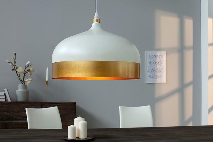 Elegante Hängeleuchte MODERN CHIC II 33cm weiß gold Pendellampe Tropfenform