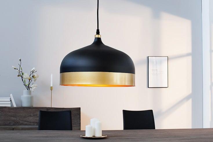 Elegante Hängeleuchte MODERN CHIC II 33cm schwarz gold Pendellampe Tropfenform