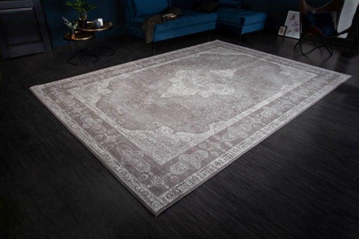 Orientalischer Baumwoll-Teppich PURE UNIQUE 350x240cm antik-hellgrau geometrische Muster