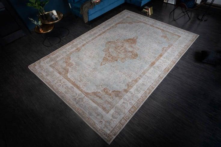 Orientalischer Baumwoll-Teppich PURE UNIQUE 350x240cm antik grau geometrische Muster