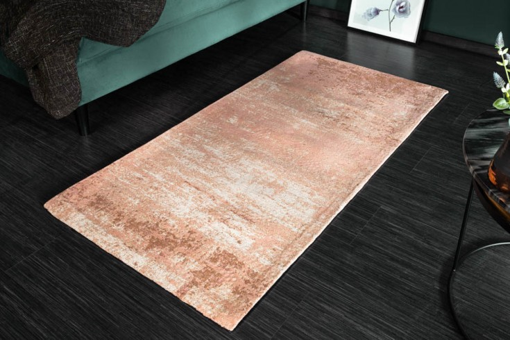 Vintage Baumwoll-Teppich MODERN ART 140x70cm beige rosa Used Look