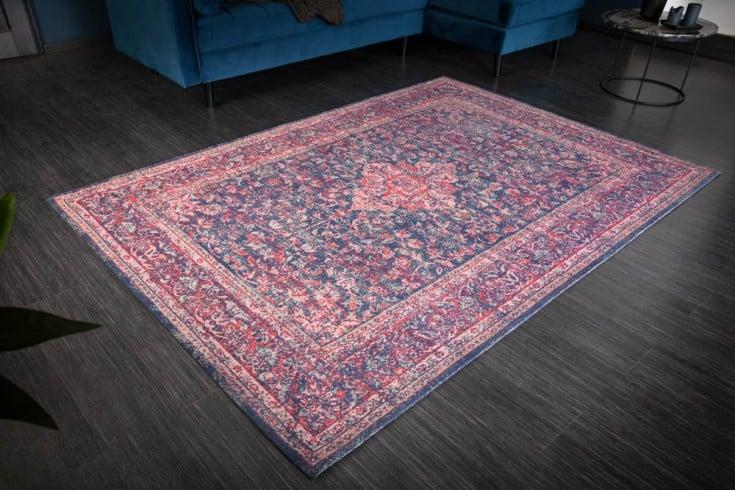 Vintage Baumwoll-Teppich OLD MARRAKESCH 240x160cm rot blau florales Muster