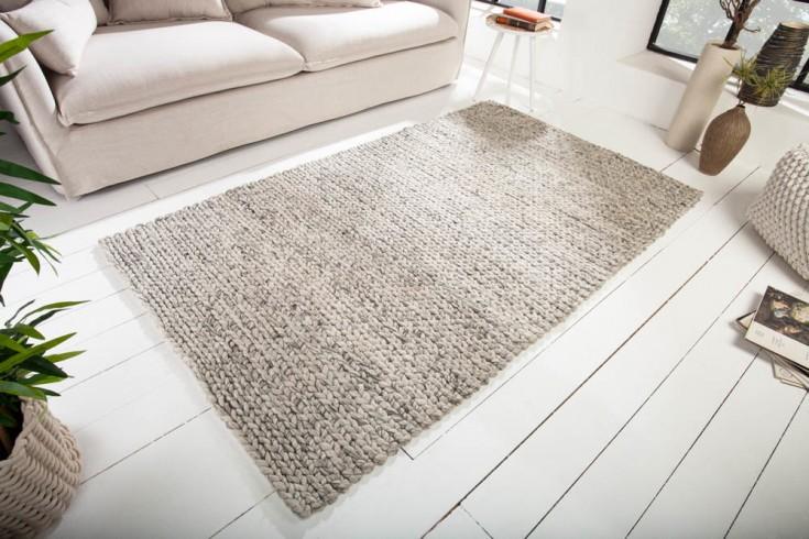 Handgearbeiteter Teppich INFINITY HOME 200x120cm grau aus Wolle