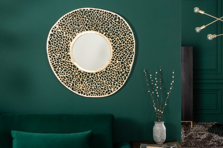 Eleganter Wandspiegel LEAF S 76cm gold Blattmuster variabel aufhängbar