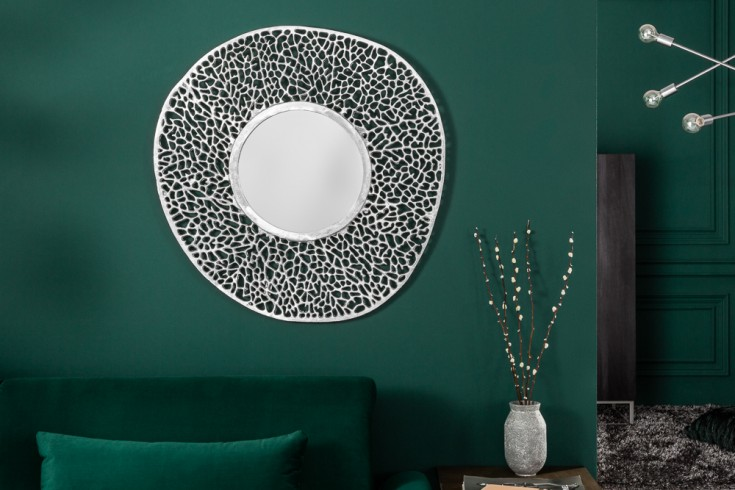 Eleganter Wandspiegel LEAF S 76cm silber Blattmuster variabel aufhängbar