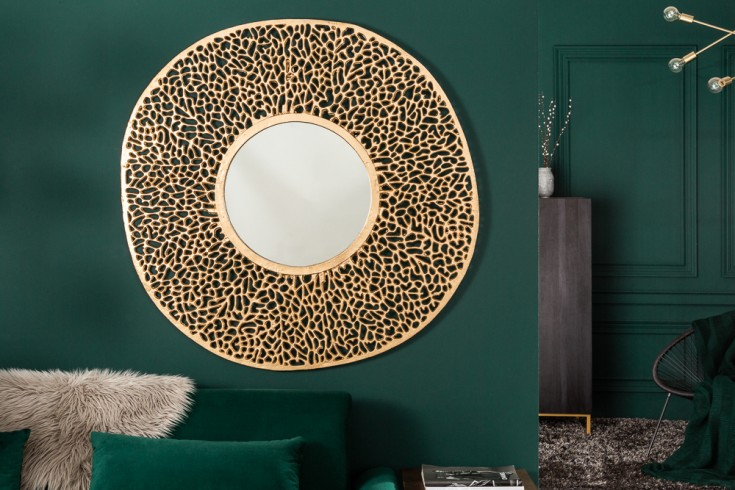 Eleganter Wandspiegel LEAF L 112cm gold Blattmuster variabel aufhängbar