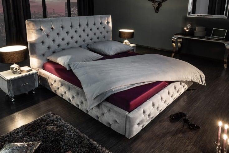 Elegantes Doppelbett PARIS 180x200cm grau Samt Chesterfield Design