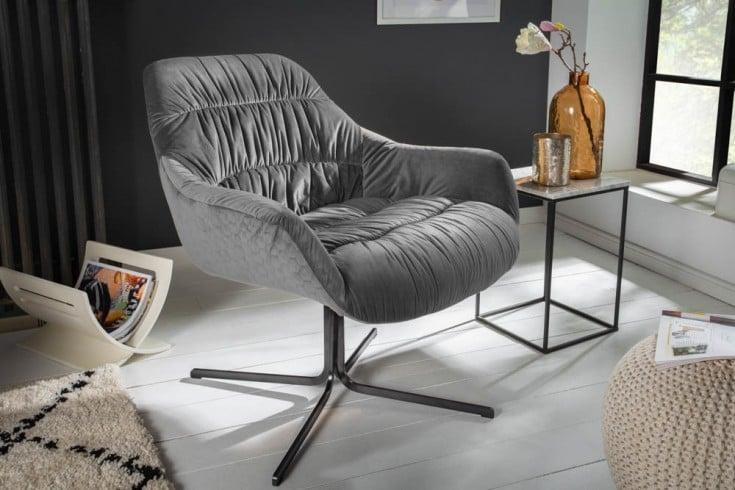 Drehbarer Sessel BIG DUTCH grau Samt mit Armlehnen Retro Stil