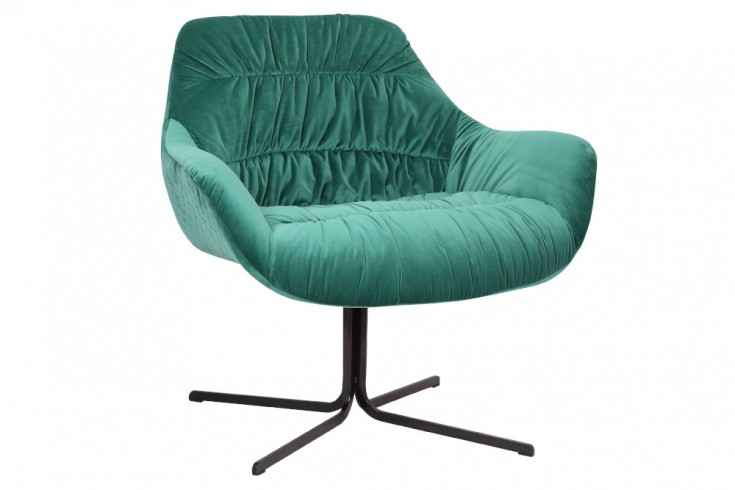 Eleganter Design Sessel BIG DUTCH smaragdgrün Samt mit Armlehnen Retro Stil