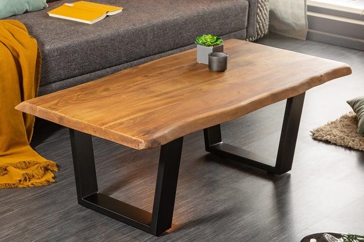 Massiver Baumstamm Couchtisch MAMMUT 110cm Akazie 3,5cm Tischplatte