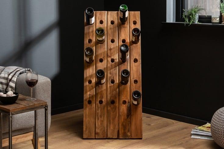 Massives Weinregal HEMINGWAY 107cm Teakholz Flaschenhalter für 25 Flaschen
