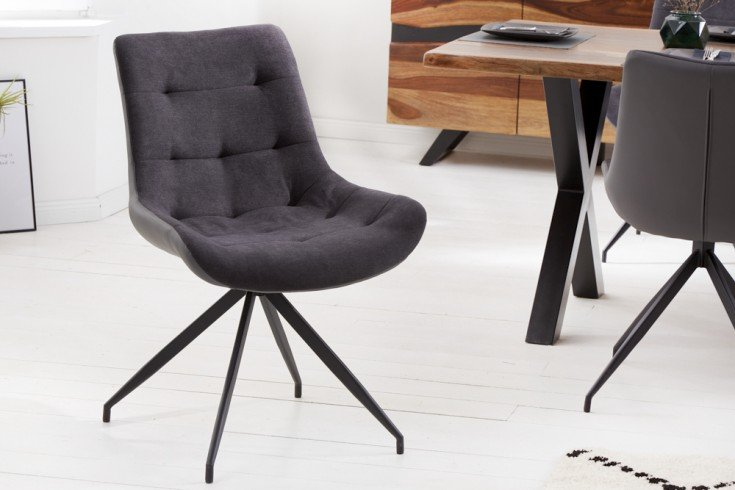 Design Stuhl DIVANI dunkelgrau Metallgestell schwarz im Retro Stil