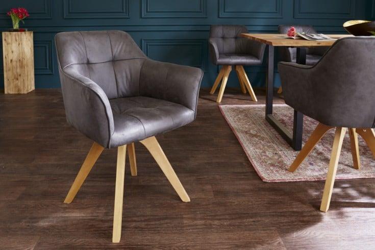 Design Stuhl LOFT antik grau Buchenholz Beine mit Armlehnen