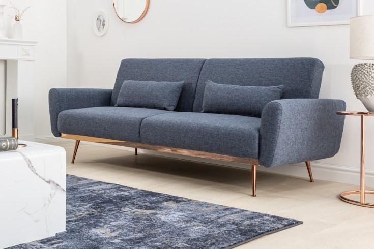 Retro Schlafsofa BELLEZZA 208cm blau 3-Sitzer Couch inkl. Kissen