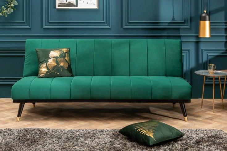 Elegantes 3er Sofa PETIT BEAUTÉ 180cm smaragdgrün Samt Schlafsofa