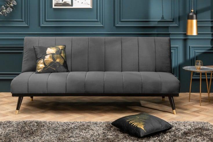 Elegantes 3er Sofa PETIT BEAUTÉ 180cm grau Samt Schlafsofa