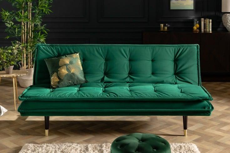 Elegantes 3er Sofa MAGNIFIQUE 184cm smaragdgrün Samt Schlafsofa