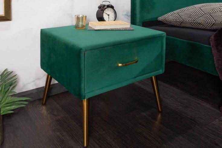 Retro Nachttisch FAMOUS 45cm smaragdgrün Samt mit Schublade