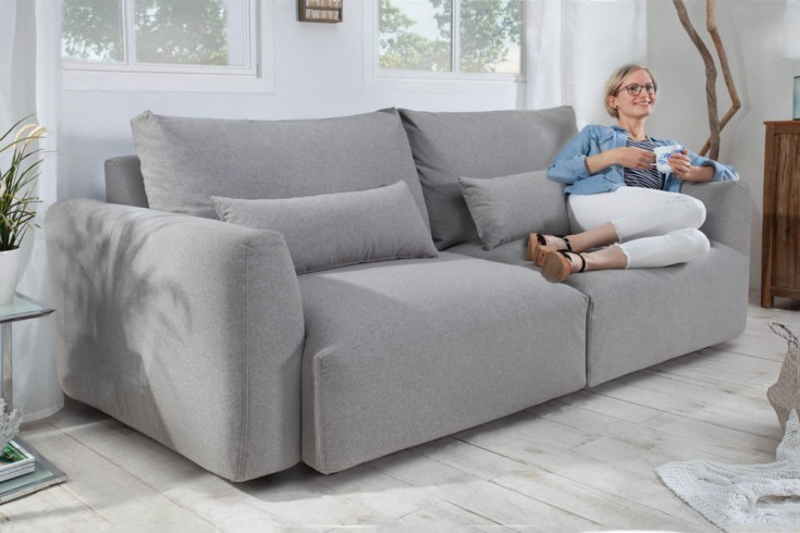 Modernes 3er Sofa HAMPTON 240cm hellgrau 3-Sitzer inkl. Kissen