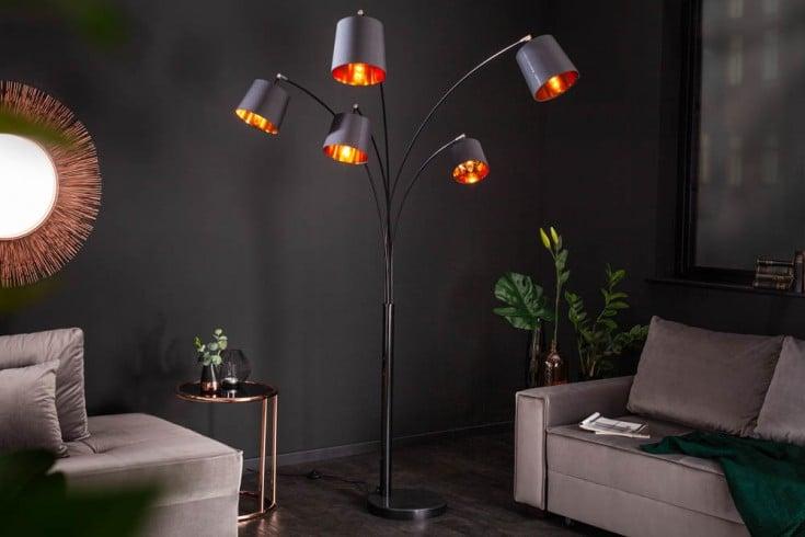 Design Bogenlampe LEVELS 202cm schwarz gold 5 neigbare Leinenschirme Stehlampe