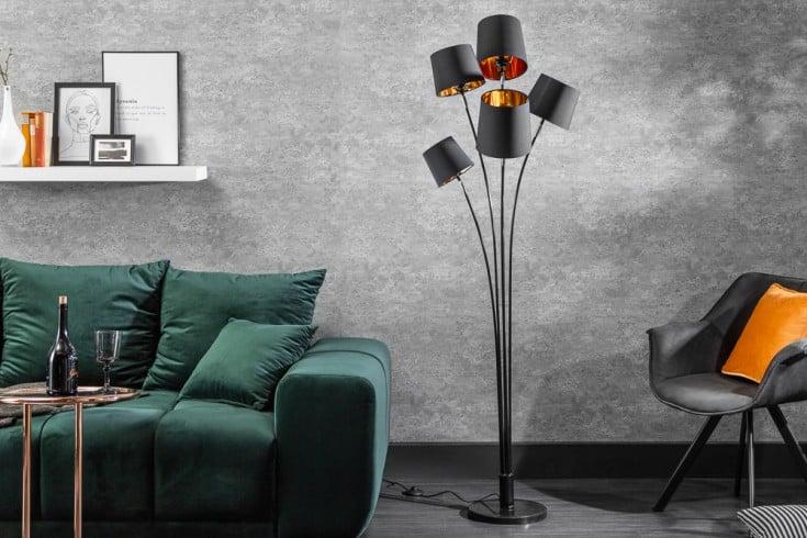 Design Stehlampe LEVELS 178cm mit 5 Leinenschirmen schwarz gold Stehleuchte