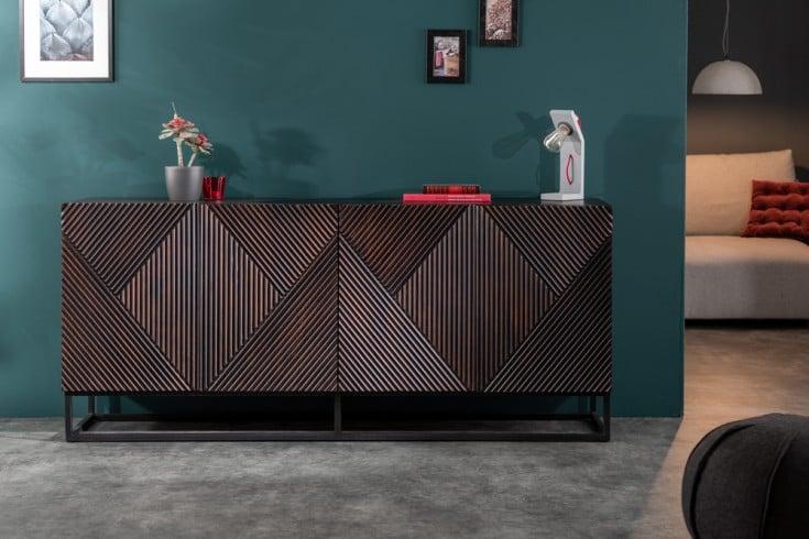 Massives Sideboard CREATIVO 177cm Mangoholz aufwändige Front Retro Design