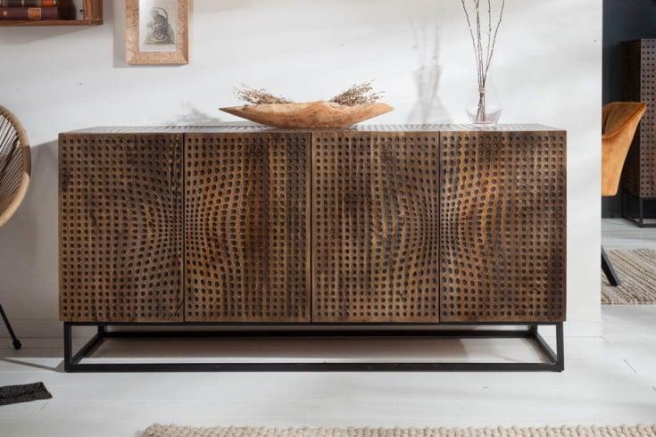 Massives Sideboard ILLUSION 160cm Mangoholz Retro Design mit aufwändiger Front
