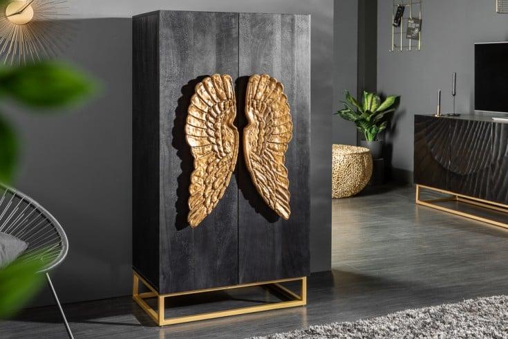 Extravagantes Highboard ANGEL 70cm schwarz Mangoholz mit goldenen Flügeln