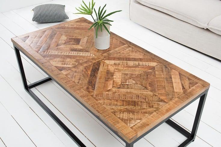 Massiver Couchtisch INFINITY HOME 100cm Mangoholz Industrial Design