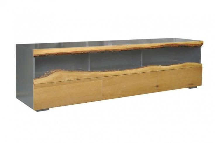 Modernes TV-Lowboard WILD OAK 180cm edelmatt grau mit Eichenholz-Front
