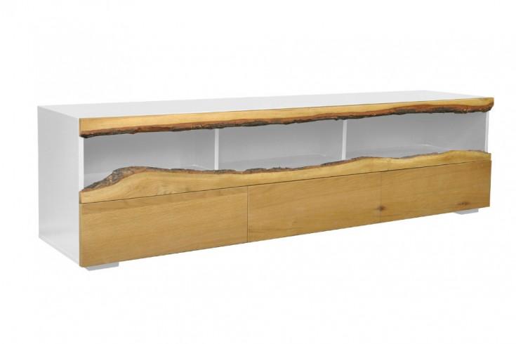 Modernes TV-Lowboard WILD OAK 180cm edelmatt weiß mit Eichenholz-Front