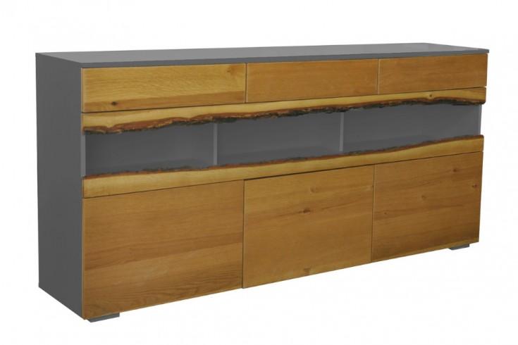 Modernes Sideboard WILD OAK 180cm edelmatt grau mit Eichenholz-Front