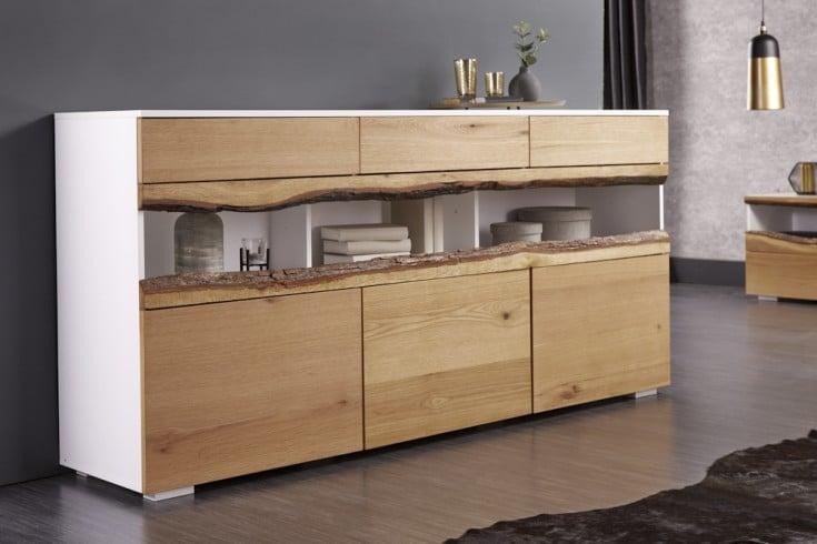 Modernes Sideboard WILD OAK 180cm edelmatt weiß mit Eichenholz-Front