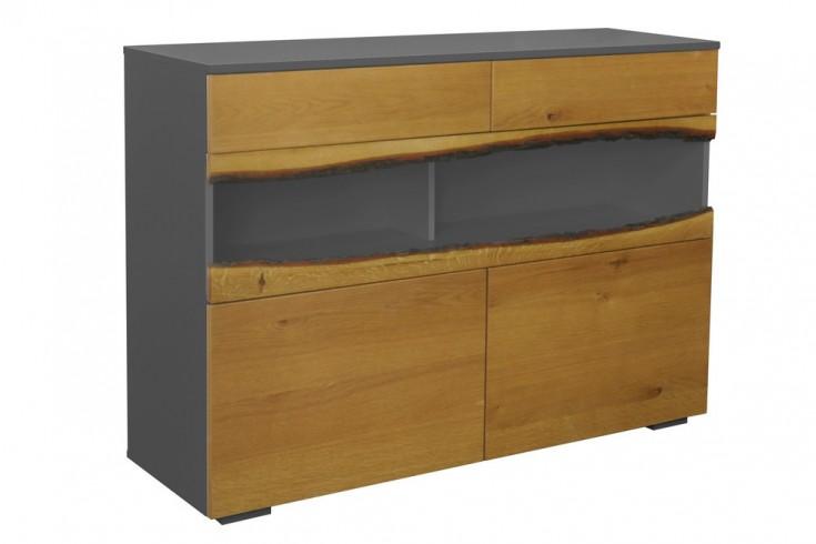 Modernes Sideboard WILD OAK 120cm edelmatt grau mit Eichenholz-Front