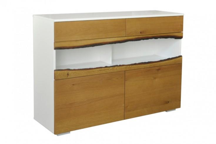 Modernes Sideboard WILD OAK 120cm edelmatt weiß mit Eichenholz-Front