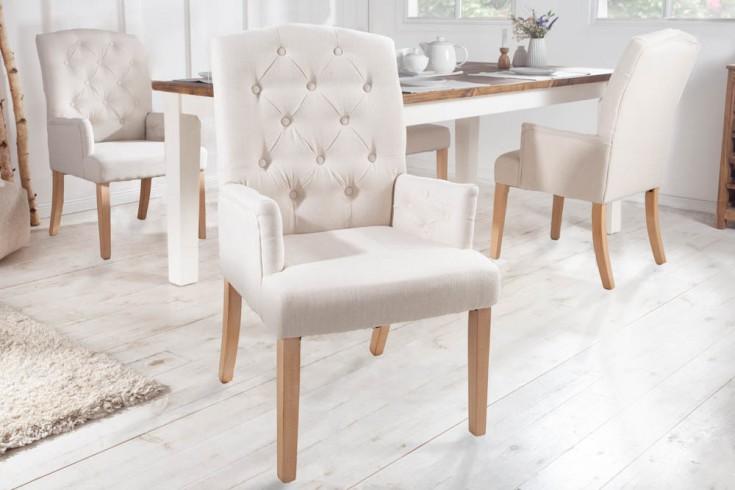 Eleganter Armlehnen Stuhl CASTLE beige mit Chesterfield Steppung im Landhausstil