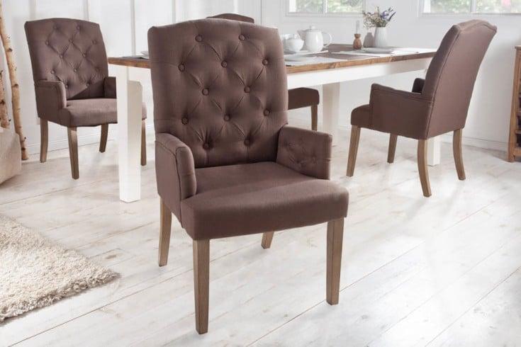 Eleganter Armlehnen Stuhl CASTLE braun mit Chesterfield Steppung im Landhausstil