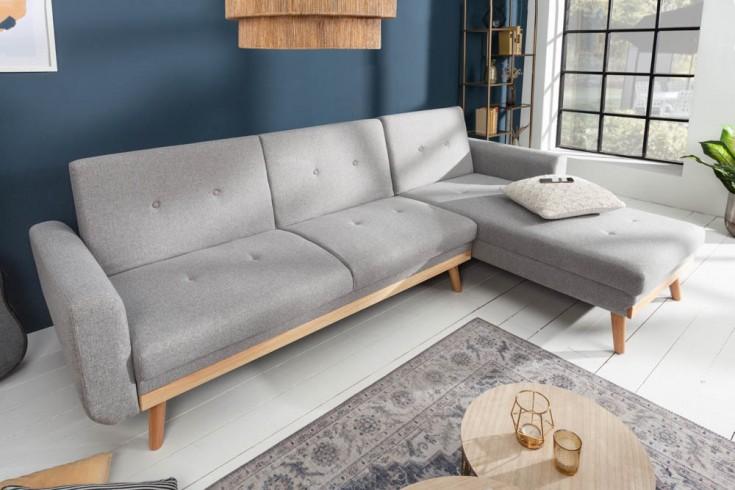Design Ecksofa SKAGEN 265cm hellgrau Scandinavian Design Bettfunktion