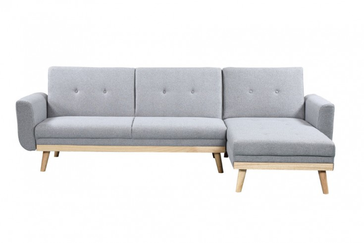 Design Eckfsofa SKAGEN 260cm hellgrau Scandinavian Design Bettfunktion