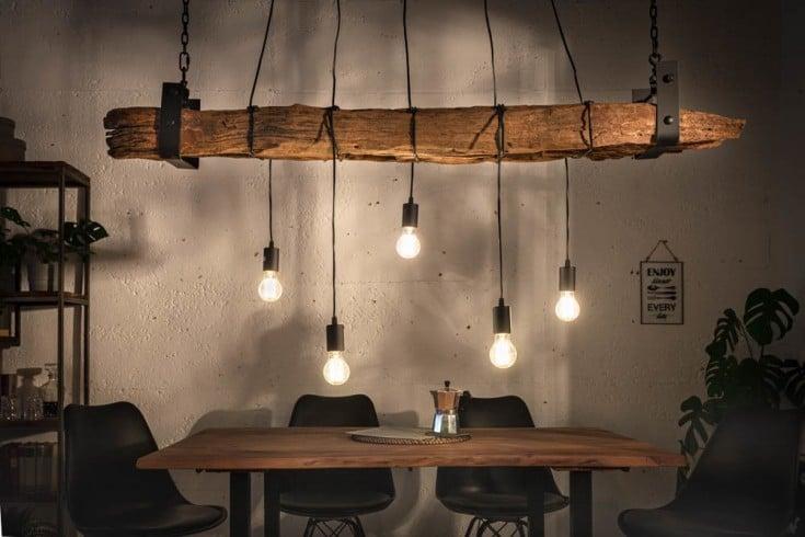 Industrial Hängelampe BARRACUDA 152cm recyceltes Massivholz mit 5 Leuchten