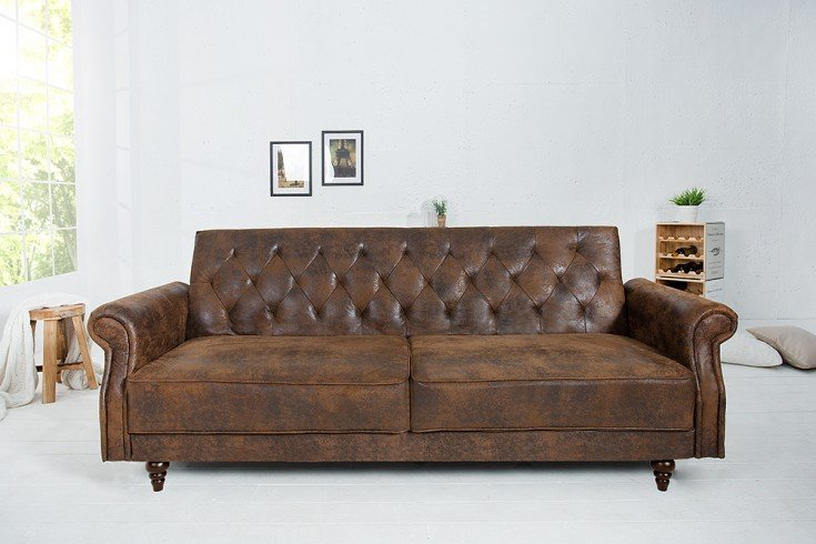Chesterfield Sofa MAISON BELLE AFFAIRE 220cm antik braun mit Schlaffunktion