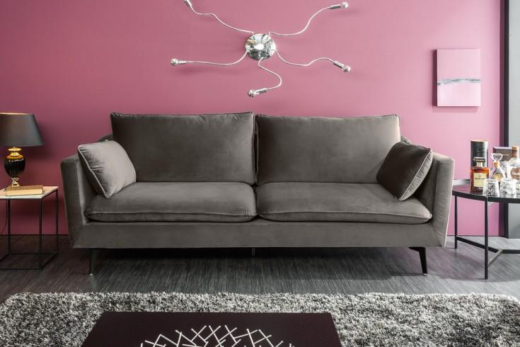 Design 3er Sofa FAMOUS 210cm silbergrau Samt Federkern inkl. Kissen