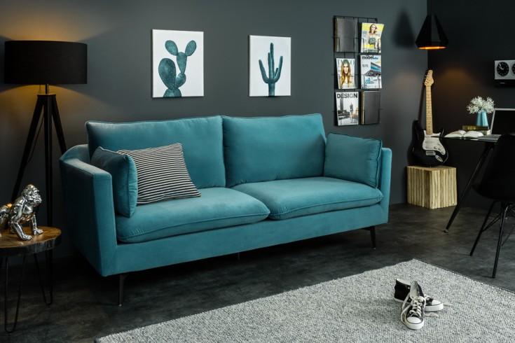 Design 3er Sofa FAMOUS 210cm aqua Samt Federkern inkl. Kissen
