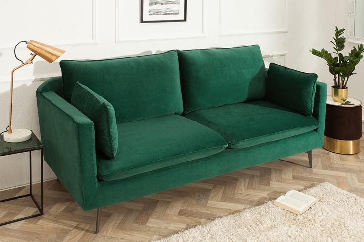 Design 3er Sofa FAMOUS 210cm smaragdgrün Samt Federkern inkl. Kissen