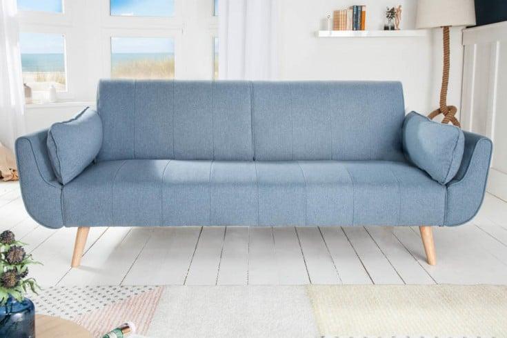 Design Schlafsofa DIVANI 215cm hellblau Bettfunktion 3er Sofa Scandinavian Design