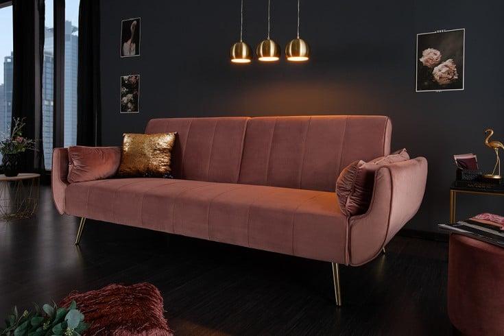 Retro Schlafsofa DIVANI 215cm altrosa Samt goldene Füße Bettfunktion 3er Sofa
