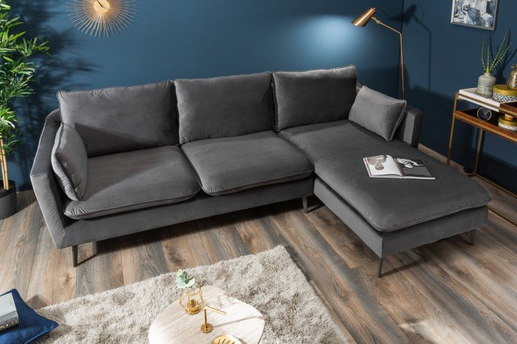 Design Ecksofa FAMOUS 260cm silbergrau Samt Federkern inkl. Kissen