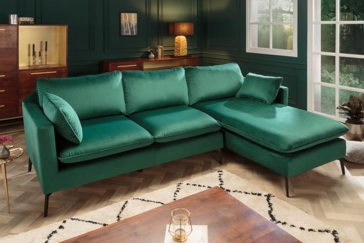 Design Ecksofa FAMOUS 260cm smaragdgrün Samt Federkern inkl. Kissen