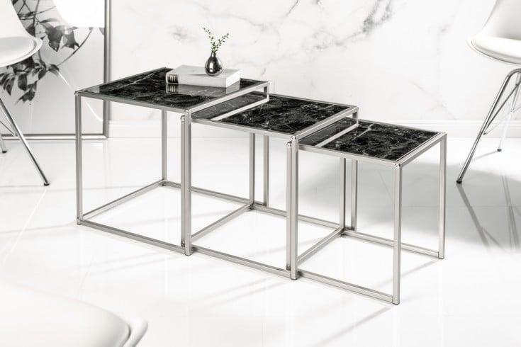 Design Beistelltisch 3er Set ELEMENTS 40cm schwarz Glasplatten in Marmoroptik